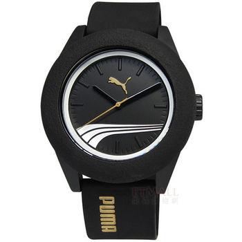PUMA / PU103971002 / 輕鬆玩色運動矽膠腕錶 黑 45mm