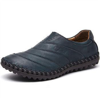 (預購)【HaoxinG】D930541深藍色秋冬男士潮流休閑鞋低幫鞋懶人鞋駕車鞋豆豆鞋男鞋