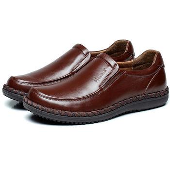 (預購)【HaoxinG】D363541棕色秋季商務正裝套腳皮鞋男士真皮單鞋低幫手工縫制鞋(JHS杰恆社)