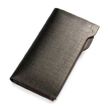 PUSH! 男士長夾頭層牛皮拉鏈抽拉式皮夾零錢包手拿包生日禮物(可放手機) push13
