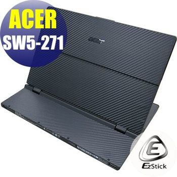 【EZstick】ACER Switch 12 SW5-271 平板專用 Carbon黑色立體紋機身保護膜 (DIY包膜)