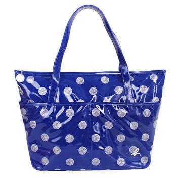agnes b. 金蔥點點普普風防水拉鍊購物包(大)藍