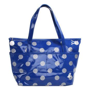 agnes b. 金蔥點點普普風防水拉鍊購物包(小)寶藍