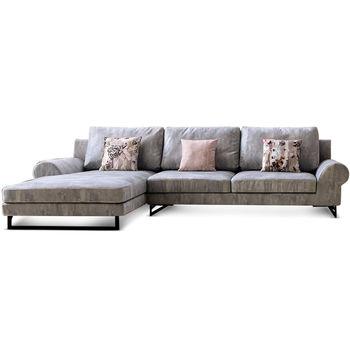 【MY傢俬】法式優雅絲絨布L型沙發