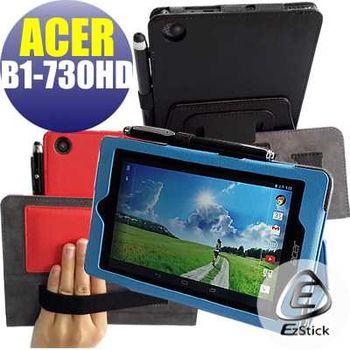 【EZstick】ACER Iconia One 7 B1-730HD 專用皮套(藍色背夾旋轉款式)+鏡面防汙螢幕貼 組合(贈機身貼)