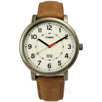 TIMEX 天美時 / TXT2P220 / INDIGLO 美國指標羅盤仿舊復刻真皮腕錶 黃x卡其色 42mm