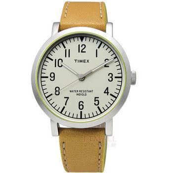 TIMEX 天美時 / TXT2P505 / INDIGLO 美國指標復古年華真皮腕錶 駝x黃 42mm