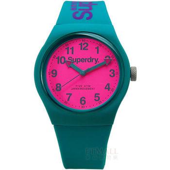 Superdry / SYG164AUP / Urban 極度乾燥都市滑板少年矽膠腕錶 藍綠色x螢光粉紅 38mm