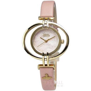 Vivienne Westwood / VV133PKPK / Oval 愛戀巴黎鏤空真皮腕錶 粉紅x金 35mm
