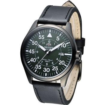 東方 ORIENT 飛行風格時尚機械錶 FER2A002F 黑x綠