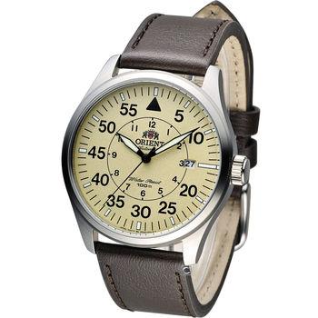 東方 ORIENT 飛行風格時尚機械錶 FER2A005Y 米黃x咖啡