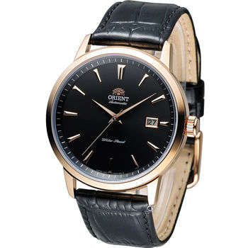 東方 ORIENT 簡約時尚機械錶 FER27002B 黑x玫瑰金色
