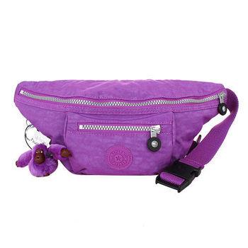 Kipling GRAPEJUICE拉鍊腰包(紫)毛絨猩猩吊飾