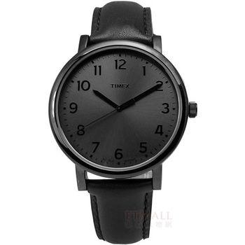 TIMEX 天美時/ TXT2N346 / INDIGLO 美國指標低調設計風格真皮腕錶 黑 42mm