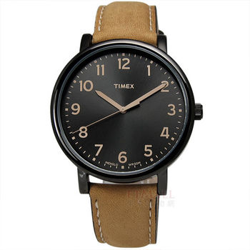 TIMEX 天美時 / TXT2N677 / INDIGLO 美國指標玩味復古腕錶 黑x咖啡 42mm