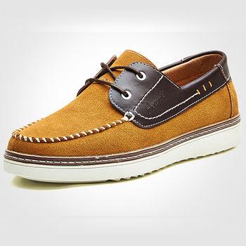 (預購)【HaoxinG】D008541黃棕秋季新款真皮男士板鞋低幫鞋韓版潮鞋透氣運動休閑鞋