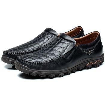 (預購)【HaoxinG】D173541墨黑色新款男鞋真皮休閑鞋男式皮鞋英倫板鞋潮鞋低幫單鞋子