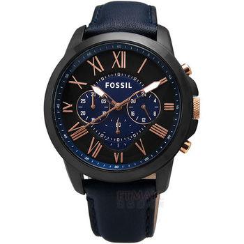 FOSSIL / FS5061 / Grant 復古羅馬三環計時真皮腕錶 深藍x玫瑰金 44mm