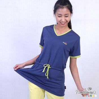 日本namelessage無名世代女款吸濕排汗透氣舒適長版上衣(淺綠/藍)_51W702