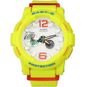 Baby-G CASIO / BGA-180-9B 卡西歐艷陽沙灘極限潮汐層次雙顯橡膠運動腕錶 螢光黃 42mm