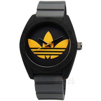 adidas 愛迪達/ADH3030 /Santiago 玩色派對三葉草矽膠腕錶 黑x灰x黃 42mm