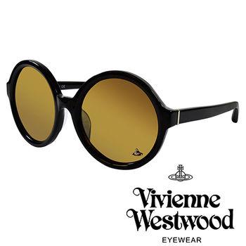 Vivienne Westwood 英國薇薇安魏斯伍德潮圓形復古個性太陽眼鏡(黑)VW88801