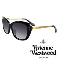 Vivienne Westwood 英國薇薇安魏斯伍德 LOGO金邊太陽眼鏡 ^#40 黑