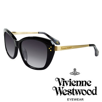 Vivienne Westwood 英國薇薇安魏斯伍德經典LOGO金邊太陽眼鏡(黑)VW88301