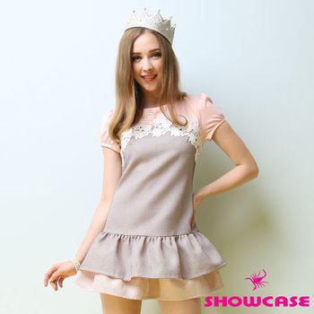 SHOWCASE公主袖蕾絲荷葉襬細格紋洋裝