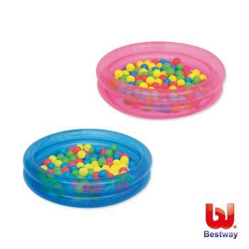 Bestway。36X8吋雙環充氣球池/水池附50顆彩球-藍、粉可挑色