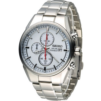 精工 SEIKO  Solar 尊爵【鈦】時尚計時腕錶 V176-0AF0D SSC367P1 白
