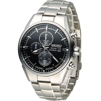 精工 SEIKO  Solar 尊爵【鈦】時尚計時腕錶 V176-0AF0D SSC367P1 黑