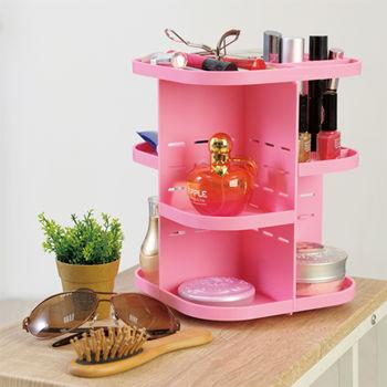 【ikloo宜酷屋】DIY旋轉化妝品/飾品收納架(粉色)