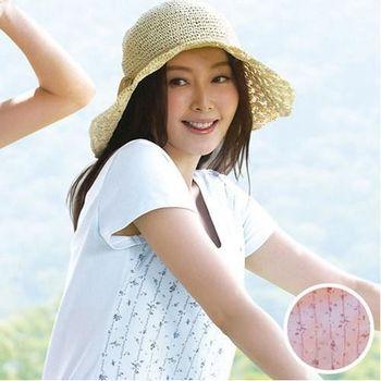 環保有機棉植物印素面M-3L短袖蘭姿(茜草粉)