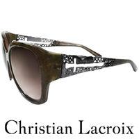 Christian Lacroix 華奢格紋金屬簍空十字架風格太陽眼鏡 墨綠色 CL500