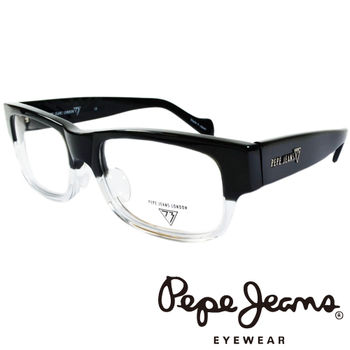 Pepe Jeans 英倫時尚英國國旗暗花雙色造型光學鏡框 (黑+透明) PJ734107-008