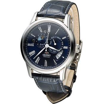 ORIENT 時尚日月星辰機械錶錶 SET0T004D 黑