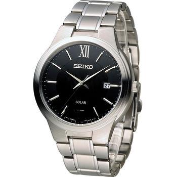 SEIKO Solar 城市旅人時尚腕錶 V157-0BE0D SNE387P1 黑