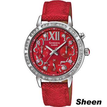 CASIO SHEEN 夏日閃耀風采時尚腕錶 SHE-3036L-4A 紅