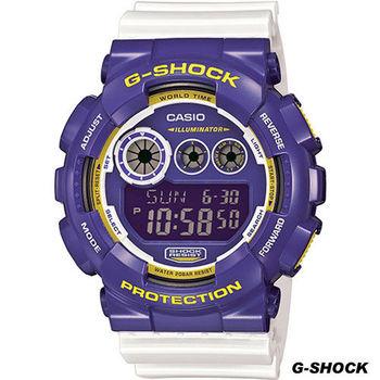 CASIO G-SHOCK 玩酷撞色大錶徑腕錶 GD-120CS-6D 白x紫