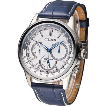 CITIZEN Eco-Drive 飛行城市時尚腕錶 BU2020-11A 白x藍