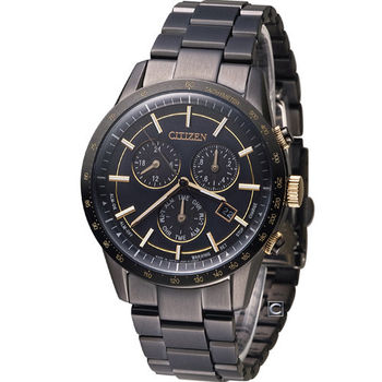 星辰 CITIZEN Eco-Drive 雅痞都會時尚腕錶 BL5495-56F 全黑