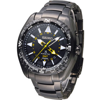 SEIKO SPOSPEX GMT兩地時間人動電能腕錶 5M85-0AE0SD SUN047J1 全黑