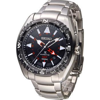 SEIKO SPOSPEX GMT兩地時間人動電能腕錶 5M85-0AE0D SUN049J1 黑