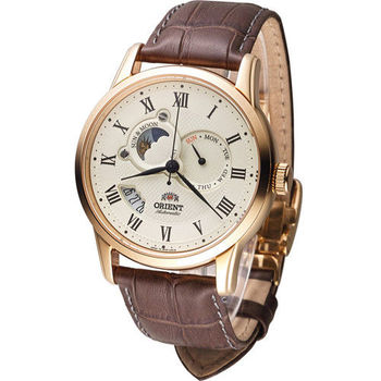 東方錶 ORIENT 尊爵日月星辰機械錶 SET0T001W 玫瑰金色