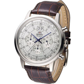 東方錶 ORIENT 當代經典尊爵計時腕錶 FTV02004W 白x咖啡