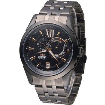 東方錶 ORIENT 大器星期日曆機械腕錶 FET0X001B 全黑