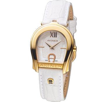 AIGNER 愛格納 ANDRIA系列優雅女仕時尚腕錶 A24225A 金色X白