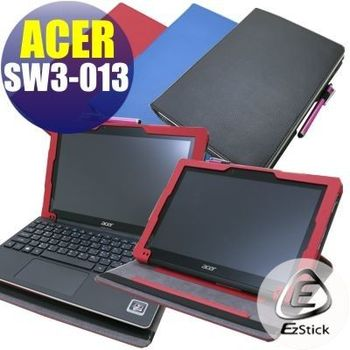 【EZstick】ACER Switch 10 E SW3-013 專用皮套(可裝鍵盤基座旋轉款式)+鏡面防汙螢幕貼 組合