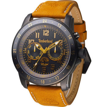 Timberland BELLAMY 叢林冒險王 日曆腕錶 TBL.14109JSBU/02 黑x咖啡